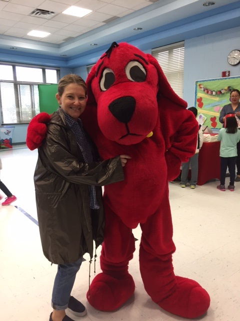 Mrs. Topel with Clifford the Big Red Dog