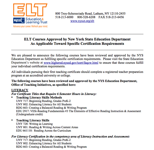 Herricks Teacher Center / ELT NYSUT Certification Programs
