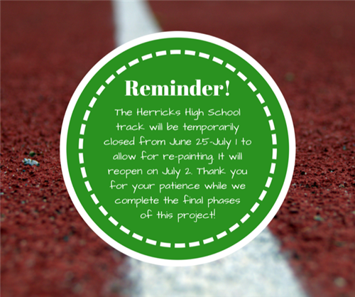 Reminder! The Herricks HS Track Will Be Temporarily Closed From June 25-July 1