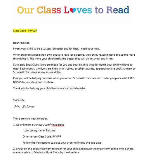 Falcone Jessica Scholastic Book Orders