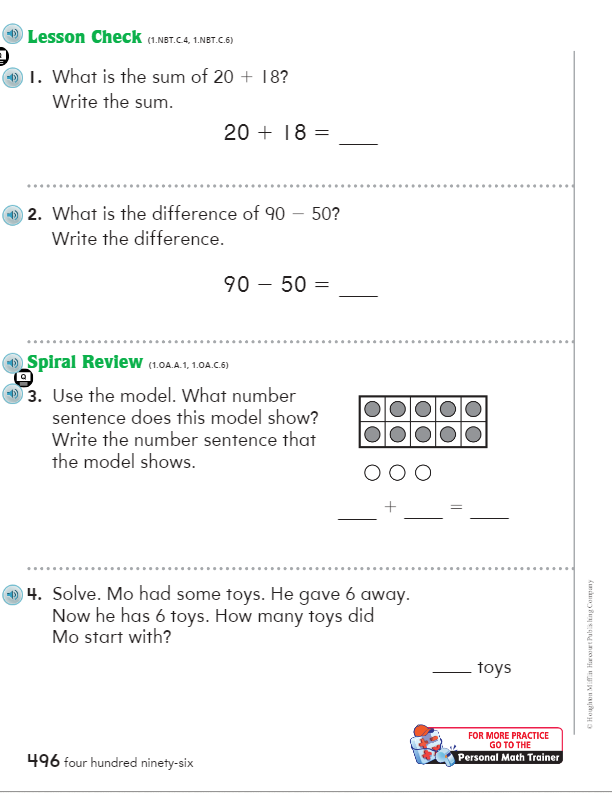 Language Immersion - Grade 1 / Go Math Chapter 8
